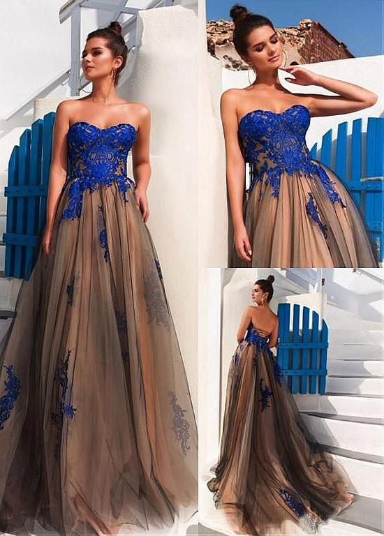 New Fashions Prom Dress,Fashion Tulle Strapless Neckline A-line Evening Dresses With Lace Appliques ,Custom Made,Party Gown,Evening Dress