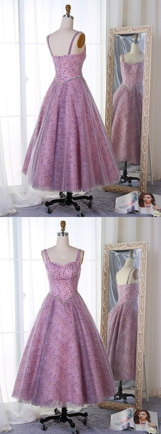 A-Line Straps Mid-Calf Lavender Tulle Prom Dress ,Party Dress With Lace Beading,Evening Dress,Custom Made