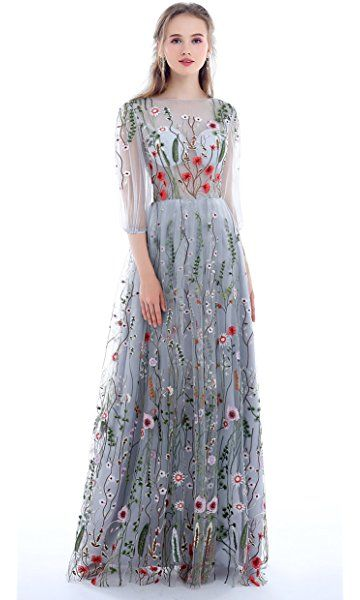 Women's Long Sleeves Floral Embroidery A-line Evening Dress,Party Dress,Custom Made