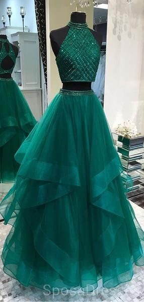 Sexy prom dress Two Pieces evening dress Emerald Green party dress Open Back Evening Prom Dresses, Cheap Custom Sweet 16 Dresses,