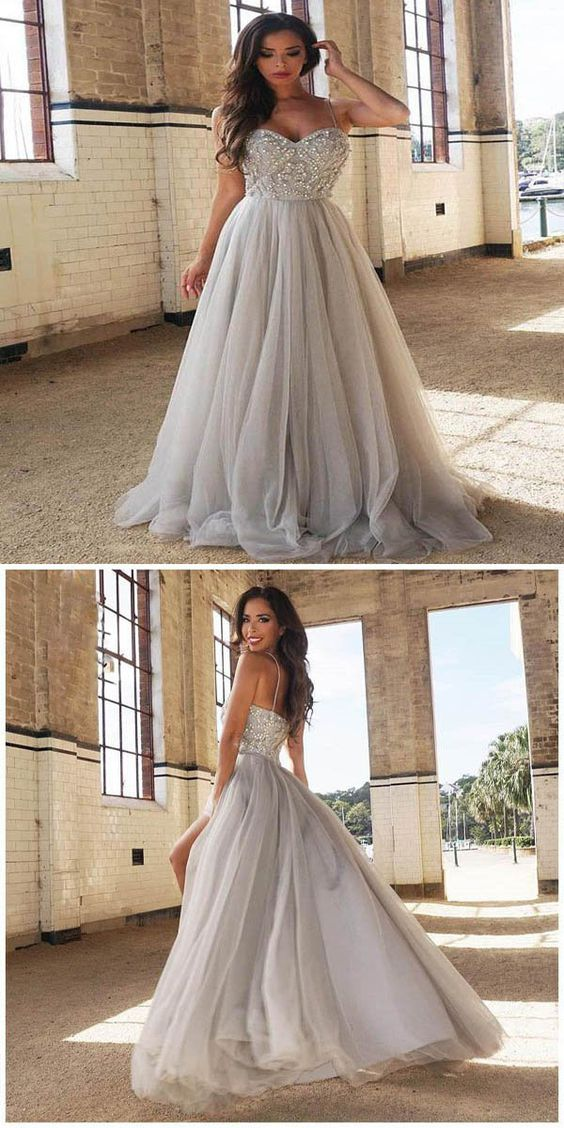 Pretty A-Line evening dress Tulle prom dress Sweetheart party dress Long Prom Dresses,Spaghetti Straps Prom Dresses