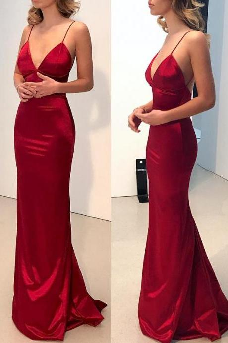 Simple party dress Backless prom dress Dark Red formal dress Mermaid evening dress Long Evening Prom Dresses
