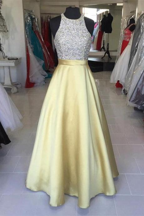 Round Prom Dresses, Yellow Long Prom Dresses, Yellow Satin Long Halter Beading ,Simple Cheap Prom Dresses