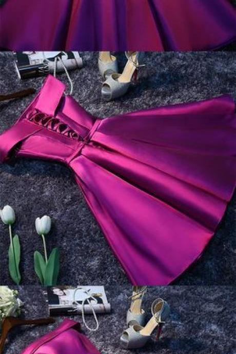 Purple Cheap Short Prom Dresses for Girls,Simple Satin Homecoming Dress ,Evening Dress,Custom Made,Party Gown