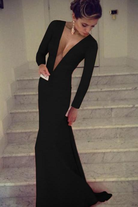 Black Prom Dress,Deep V Neck Prom Dress,Long Sleeve Prom Dress,Mermaid Prom Dress,Long Sexy Prom Dress,Sexy Party Dress,Long Evening Dress,Custom Made,Evening Dress,Party Gown