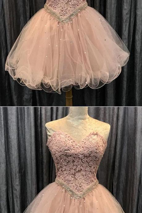 Pink homecoming dress, Cute homecoming dress, Short prom gowns, Elegant sweetheart cocktail dress,Mini Dress,Evening Dress,Custom Made,Party Gown
