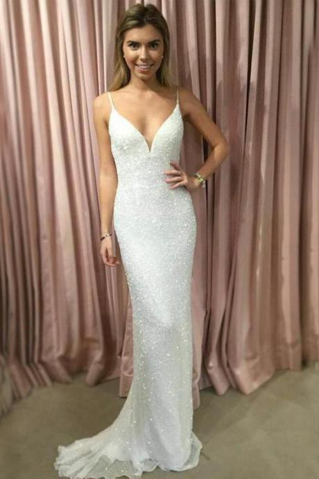 Spaghetti Straps V-Neck Prom Dresses, Sequin Prom Dresses, Sexy V-Back Prom Dresses,Custom Made,Party Gown,Evening Dress