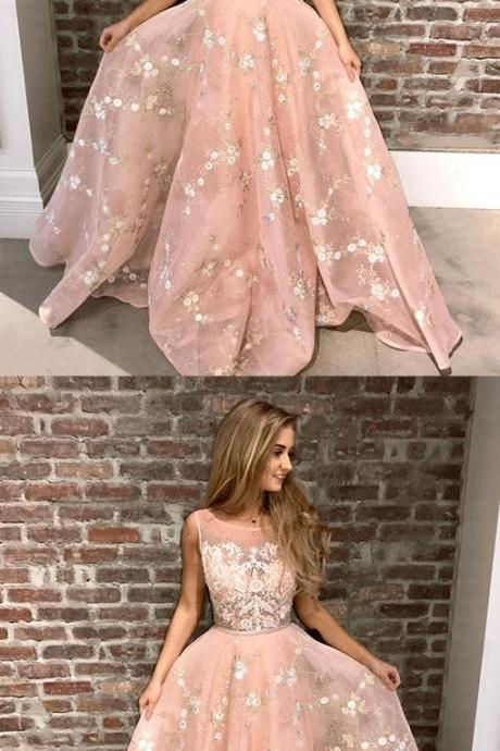A-Line Round Neck Pink Tulle Prom Dress with Appliques Lace, Princess pink long prom dresses, Modest party dresses with appliques,Custom Made,Party Gown,Evening Dress