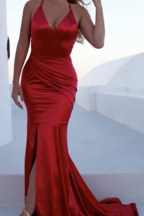 Sexy Long Evening Dress ,Floor Length ,New Fashion,Sleeveless Red Prom Dress,Sexy Prom Dress,Backless V- neckline Prom Dress,Straps Red Mermaid Prom Dresses 2018,Custom Made,Party Gown,Evening Dress