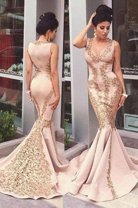 Mermaid Prom Dresses Sexy V-neck Appliques Long Prom Dress/Evening Dress ,Party Dresses,Charming Prom Dress, Formal Dresses,Custom Made,Party Gown,Evening Dress