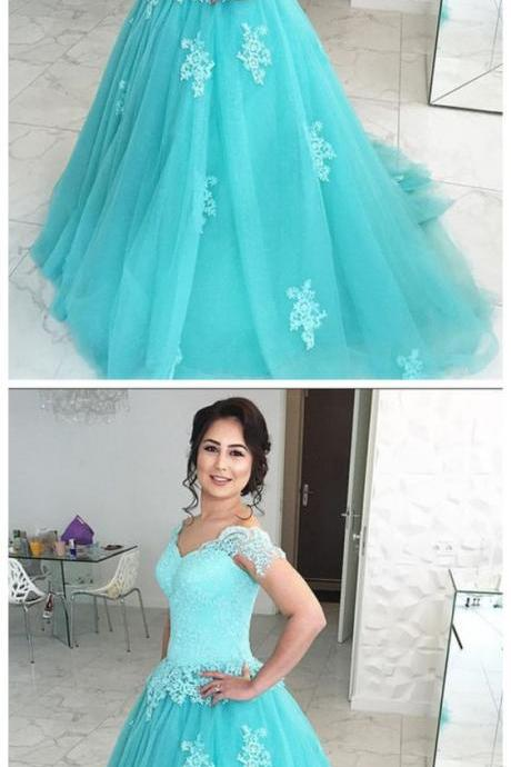 Tulle Blue Ball Gown Prom Dress,Long Prom Dresses ,Tulle Prom Dress,Long Prom Dresses with Beading , Evening dress,Cheap Evening Dress,Custom Made,Party Gown