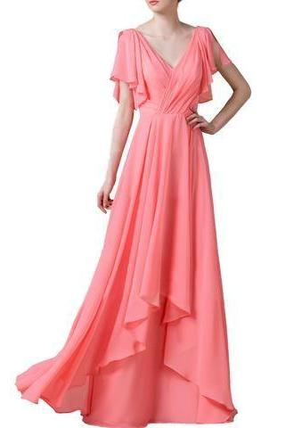 V-Neck Chiffon A-line Bridesmaid Dress, Evening Dress, Custom Made with Cascading Ruffles
