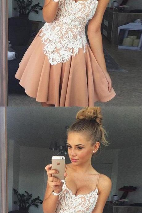cute-lace-a-line-short-prom-dress-homecoming-dress, Sexy Party Dress, Formal Dress,modest Evening Dress,Custom Made,Party Gown