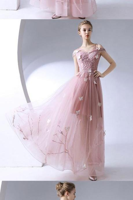 pink-lace-tulle-long-prom-dress-pink-evening-dress, Formal Dress,modest Evening Dress,Custom Made,Party Gown