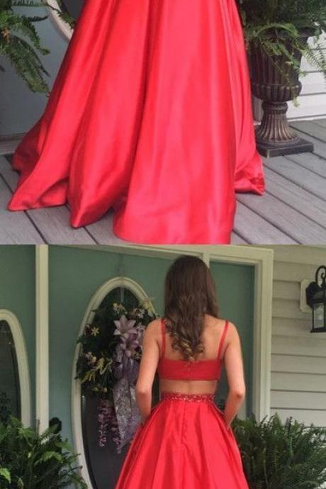 Simple red round neck long satin prom dress ,Custom Made,Party Gown,Cheap Evening dress