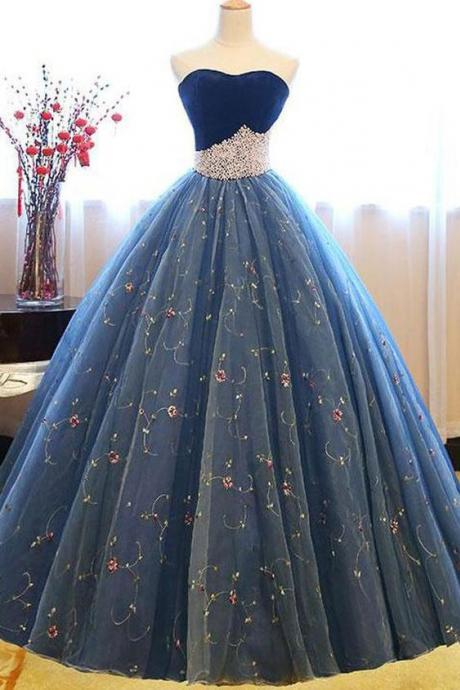 Navy Blue Ball Gown Sweetheart Sleeveless Lace Up Pearl Appliques Prom Dress, Formal Gowns , Formal Evening Dress, Party Dress,Custom Made,Party Gown,Cheap Evening dress