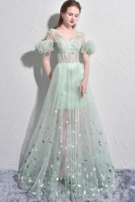Sexy Prom Dresses A-line Short Sleeve Sage Long Prom Dress Tulle Evening Dress , Formal Gowns , Formal Evening Dress, Party Dress,Custom Made,Party Gown,Cheap Evening dress