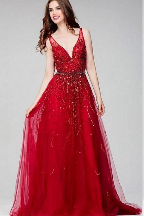 Red Tulle V-neck Evening Dress,A-line Beading Cheap Evening Dress,Handmade Evening Dress,Formal Gowns , Formal Evening Dress, Party Dress,Custom Made,Party Gown,Cheap Evening dress