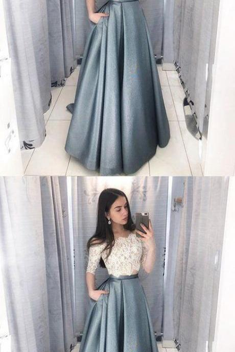 Unique lace two pieces long prom dress, lace evening dress, Formal Evening Dress, Party Dress,Custom Made,Party Gown,Cheap Evening dress