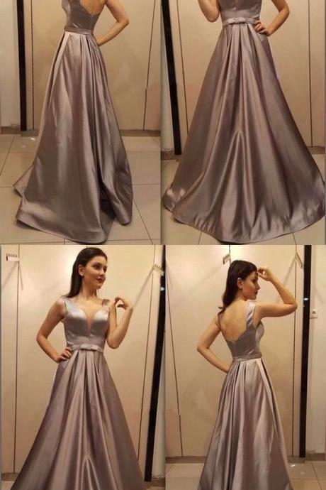 Simple Chocolate A Line V Neck Backless Long Prom Dress,Custom Made,Party Gown,Cheap Evening dress