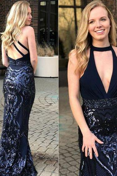 Mermaid Jewel Sweep Train Keyhole Navy Blue Open Back Long Prom Dress with Beading Sequins, ,Custom Made,Party Gown,Cheap Evening dress