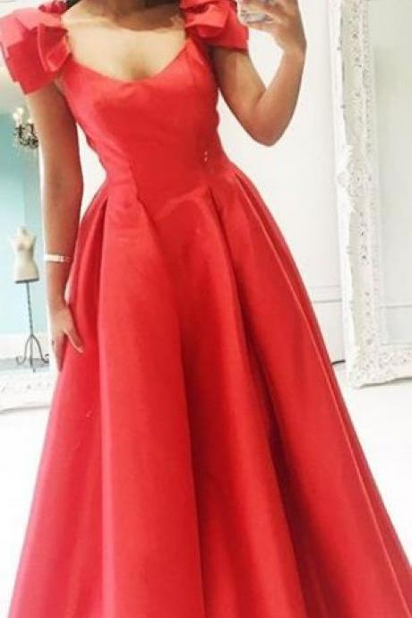 Straps Scoop Neck Long Prom Dress Red Formal Evening Gown,Custom Made,Party Gown,Cheap Evening dress