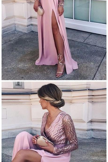 A-line V-neck Long Prom Dress With Rhinestone Pink Long Sleeve Prom Dresses ,Custom Made,Party Gown,Cheap Evening dress