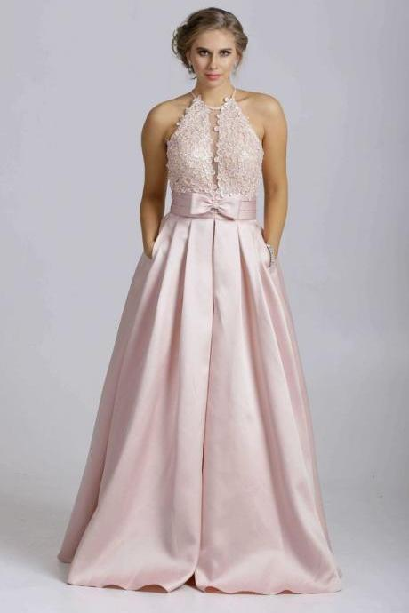 Long dress with halter style neck and fuller dress,Custom Made,Party Gown,Cheap Evening dress