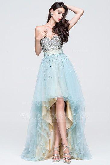A-Line/Princess Sweetheart Asymmetrical Tulle Prom Dress With Ruffle Beading Sequins ,Custom Made,Party Gown,Cheap Evening dress