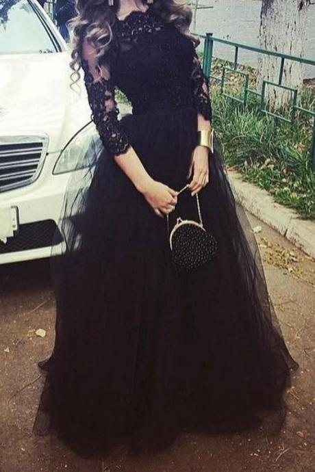 Vintage Black Arabic Prom Pageant Dresses Scoop 3/4 Sleeve Applique Lace A Line Party Evening Gowns,Custom Made,Party Gown,Cheap Evening dress