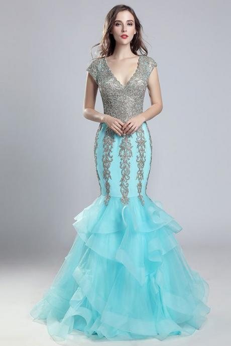 Attractive Tulle V-neck Neckline Mermaid Prom Dress With Beaded Lace Appliques,Custom Made,Party Gown,Cheap Evening dress