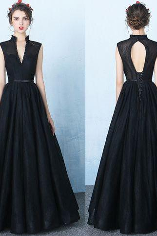 New Design Black Lace V Neck Prom Dresses,Stand up Neck Backless Ball Gown Prom Dress,Beads Princess Long Evening Dress