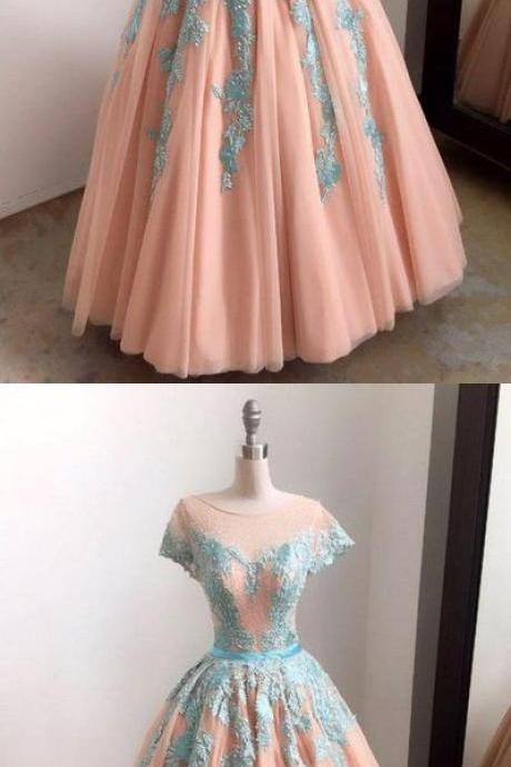 Unique baby blue lace appliques long formal prom dress, tulle evening dress,Custom Made,Party Gown,Cheap Prom Dress