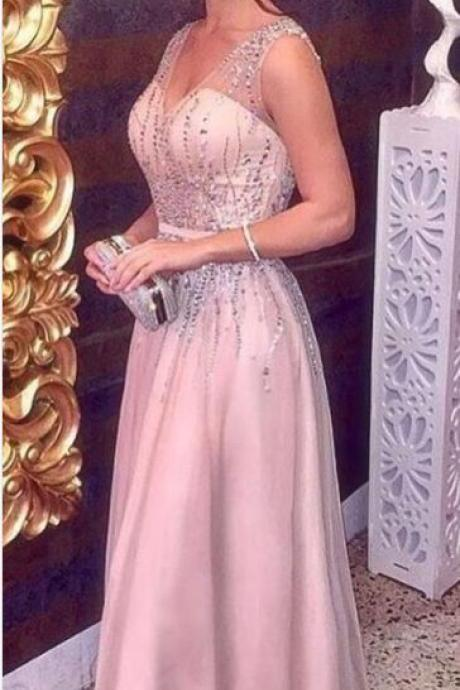 Pink Sparkly Beading V neck A Line Prom Dress ,Party Gown, Long Party Dress, Evening Party Prom Dresses