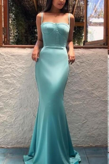 Mermaid Evening Dresses ,Trumpet Spaghetti Straps Dress