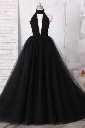 Black Halter Prom Dress,Plunging High Neck Dress, Tulle Ball Gown Prom Dress