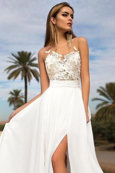 Summer Beach Wedding Dress ,Wedding Dress With Slit ,Bridal Gown