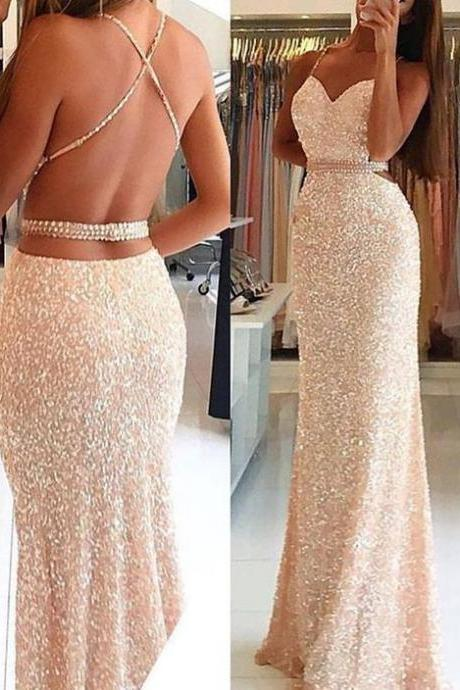 Sequin Prom Dress, New Gorgeous Evening Gowns ,Long Sweet Gowns ,Backless Party Dress,Evening Dress,Custom Made