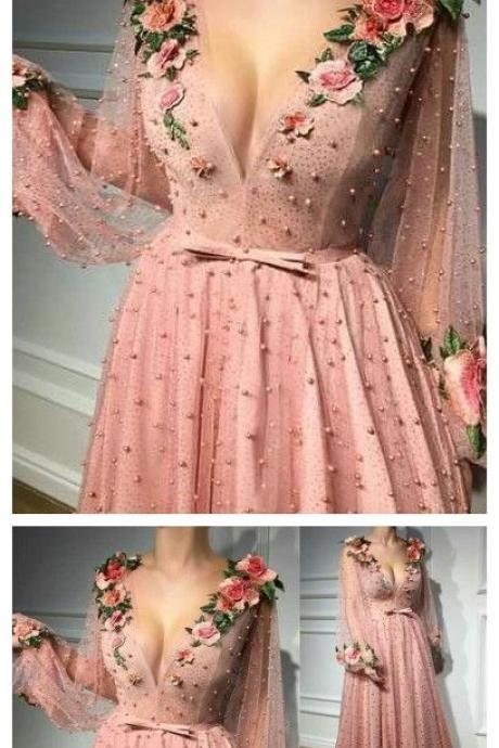 deep v neck prom dress, long sleeve prom dress,tulle party dress,flower evening dress,party dress with appliques