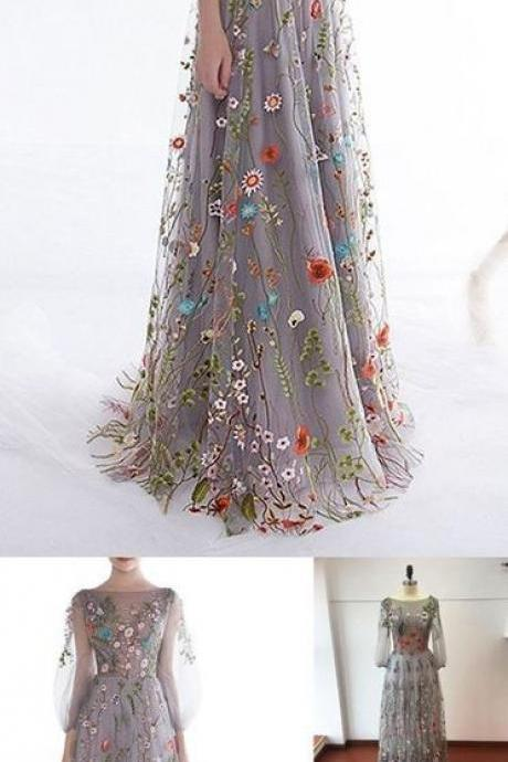 Women's Zipper Back Floral Embroidery ,Long Sleeves Evening Dresses,Custom Made,Floor Length ,2018 New Fashion