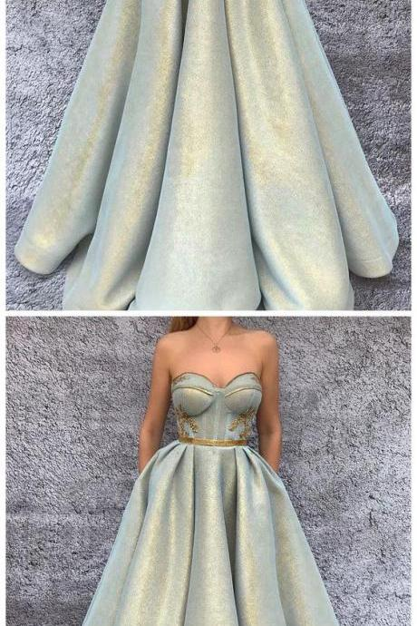 Chic A-line Prom Dresses ,Sweetheart Modest Long Prom Dress, Evening Dresses