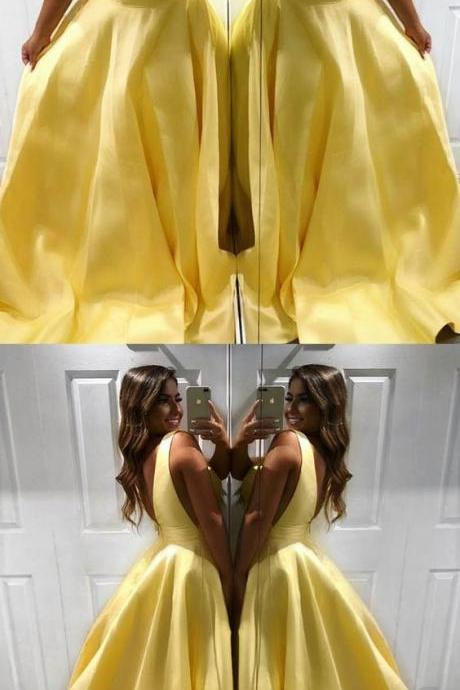 A Line Satin V Neck Yellow Prom Dresses,Party Dress,Long Evening Dress
