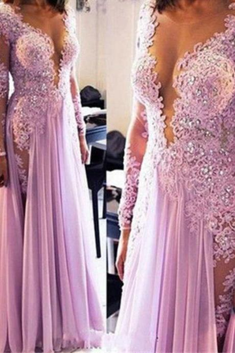 New Long Sleeves Party Dress, Deep V Neck Lace Slit Prom Dresses ,Evening Gowns