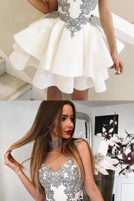 A-Line Round Neck Short White Tiered Homecoming Dress,Party Dress With Appliques