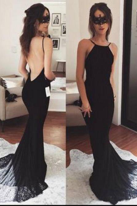 Charming Prom Dress, Black Backless Mermaid Prom Dresses, Long Evening Dress, Formal Gown