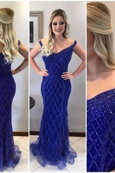 Custom Blue Tulle Off Shoulder Sexy Mermaid Prom Dresses, Sparkly Prom Dress, Evening Dress,