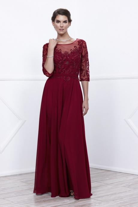 Sleeved Burgundy evening Dresses,red lace prom dresses