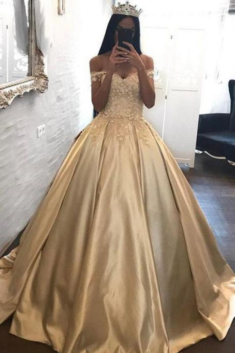 Ball Gown Off-the-shoulder Satin Prom Dress Evening Dress With Appliques