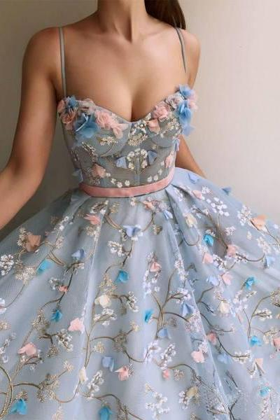 A Line Spaghetti Straps Sweetheart 3D Flower Applique Sky Blue Prom Dresses
