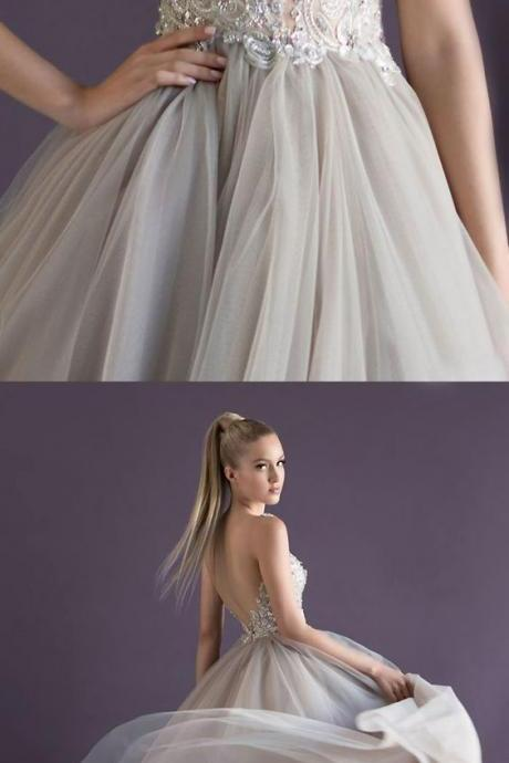 white beads party dress A Deep V-Neck Prom Dresses Tulle applique Evening Dress backless formal dress